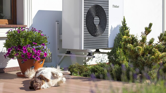 Air-source heat pump installed outdoor on a housewall. Dog lying infront of the heat pumps.