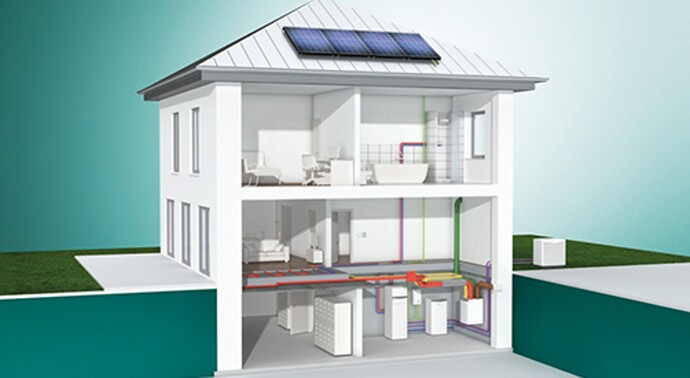 Gas condensing boiler ecoTEC exclusive with solar hot water preparation system and ventilation