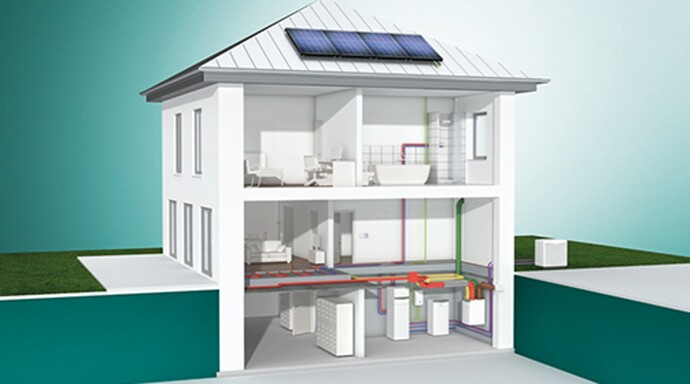 Ground source heat pump flexoTHERM exclusive with photovoltaic system auroPOWER