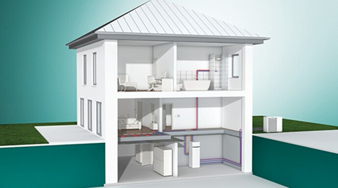 Air source heat pump aroTHERM with indoor unit uniTOWER and central ventilation system